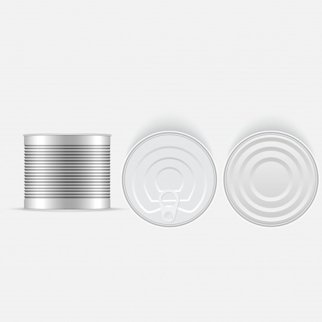 626x626 Set Of White And Metallic Tin Can Vector Premium Download