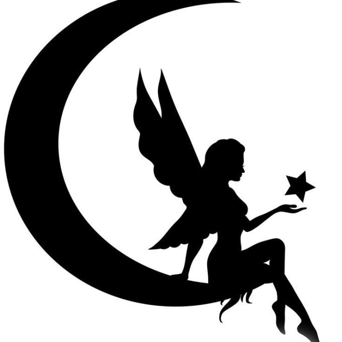 680x680 Tinkerbell With Moon Vector Fairy On Moon Silhouette, Moon And