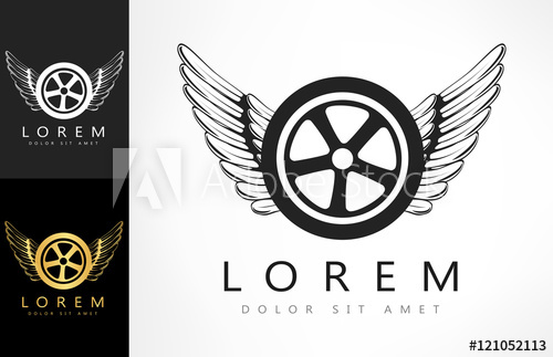 500x323 Wings And Tire Logo. Vector Illustration.