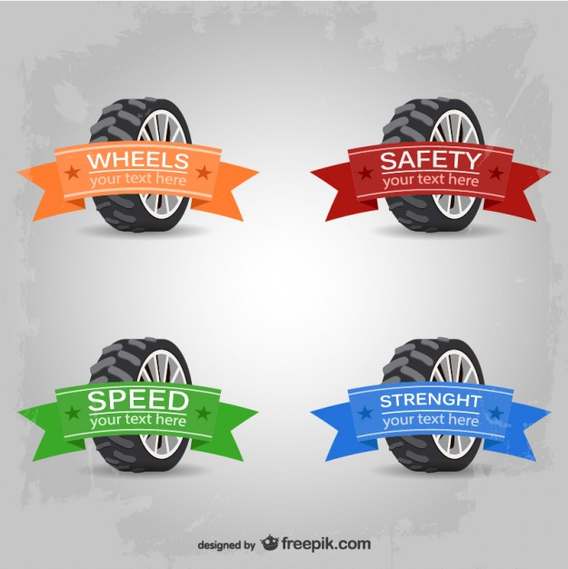 625x626 Car Wheels Logos With Ribbons In Different Colors Vector Free