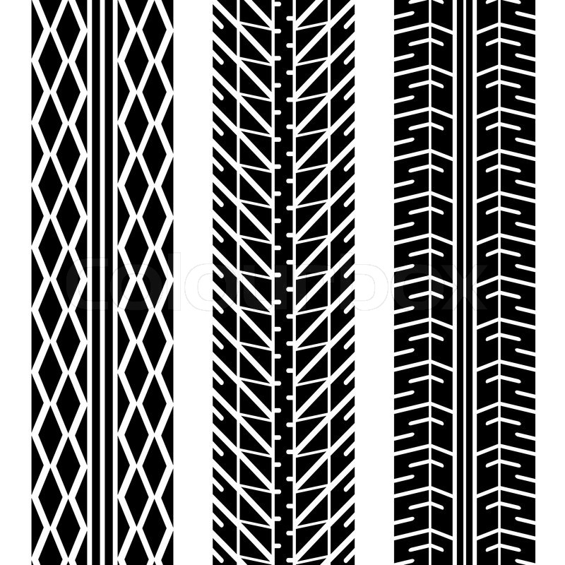 800x800 Three Different Tire Tread Patterns In Black And White Stock