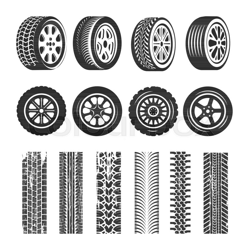 800x800 Car Tires And Tire Track Traces Of Tread Pattern. Vector Car Tire
