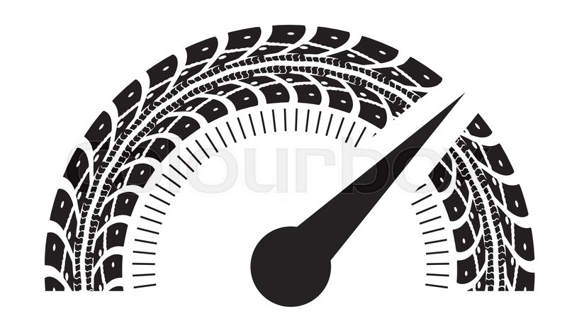 800x470 Speedometer Vector Illustration. Styling By Tire Tracks. Vector
