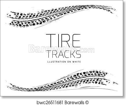 437x364 Art Print Of Tire Tracks Vector Background Barewalls Posters