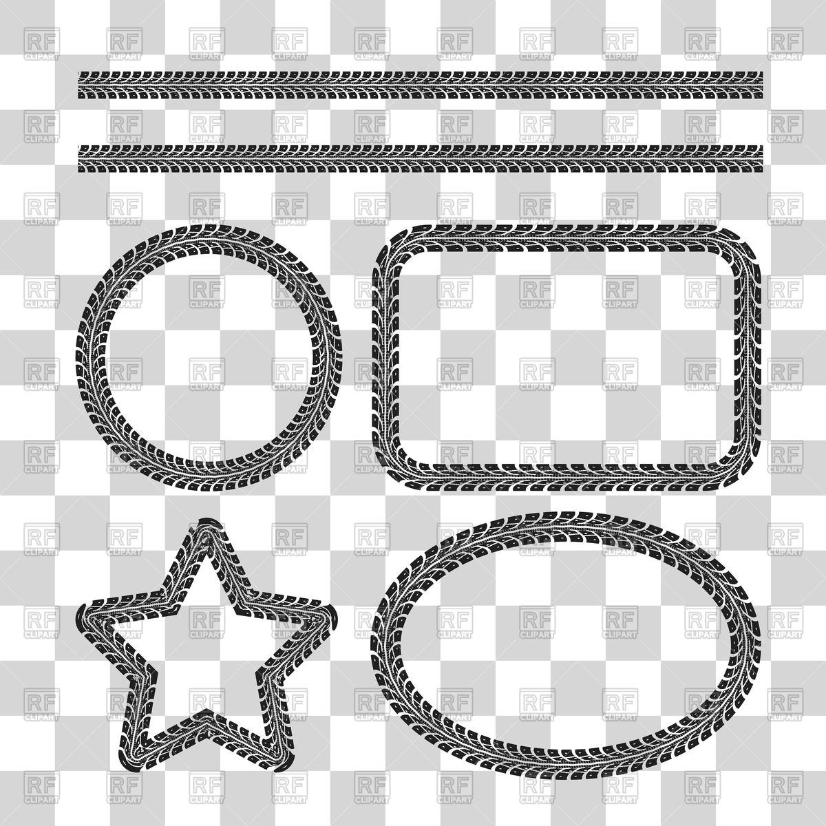1200x1200 Tire Tracks Frame Set Vector Image Vector Artwork Of Borders And