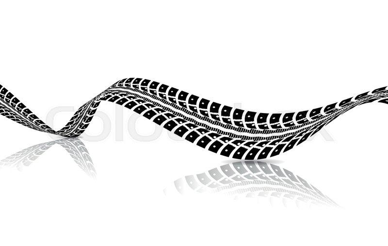 800x507 Tire Tracks. Vector Illustration On White Background Stock