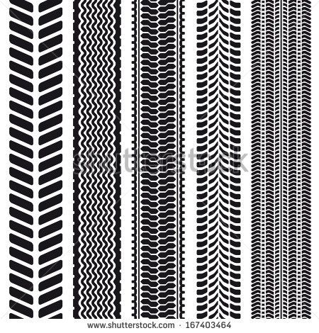 450x470 Set Of 5 Tire Treads. Seamless Texture. Vector Illustration. By