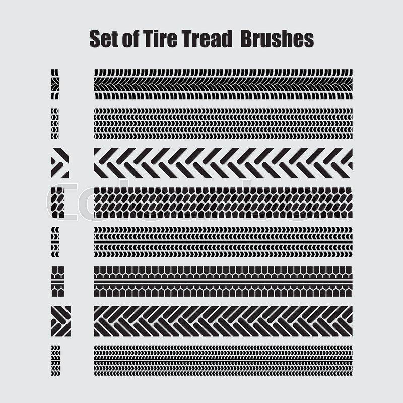 800x800 Set Of Tire Tread Brushes. Vector Illustration. Stock Vector