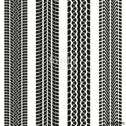 500x500 Tire Tread Or Tracks Set Isolated On White Background. Tyre Print