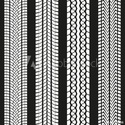 500x500 Tire Tread Set. Tyre Marks Background. Vector Illustration