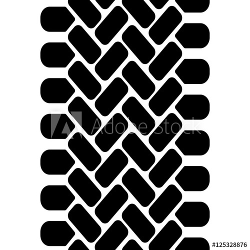500x500 Black And White Tire Tread Track Seamless Pattern, Vector