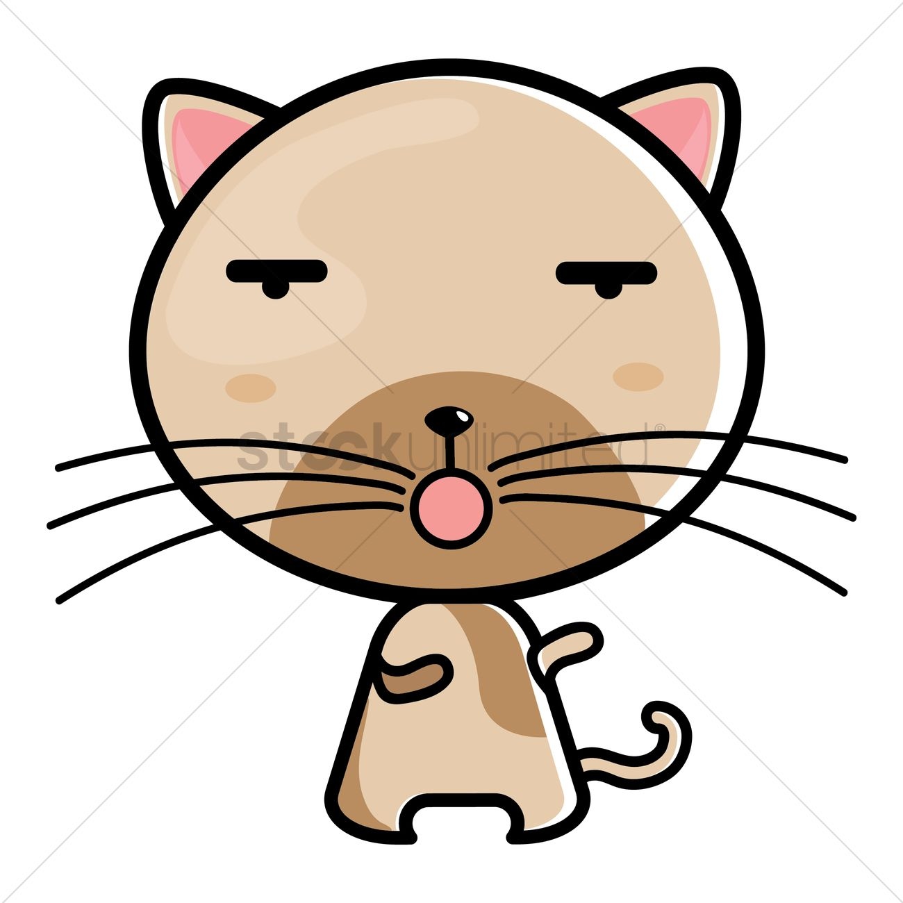 1300x1300 Cat Feeling Tired Vector Image