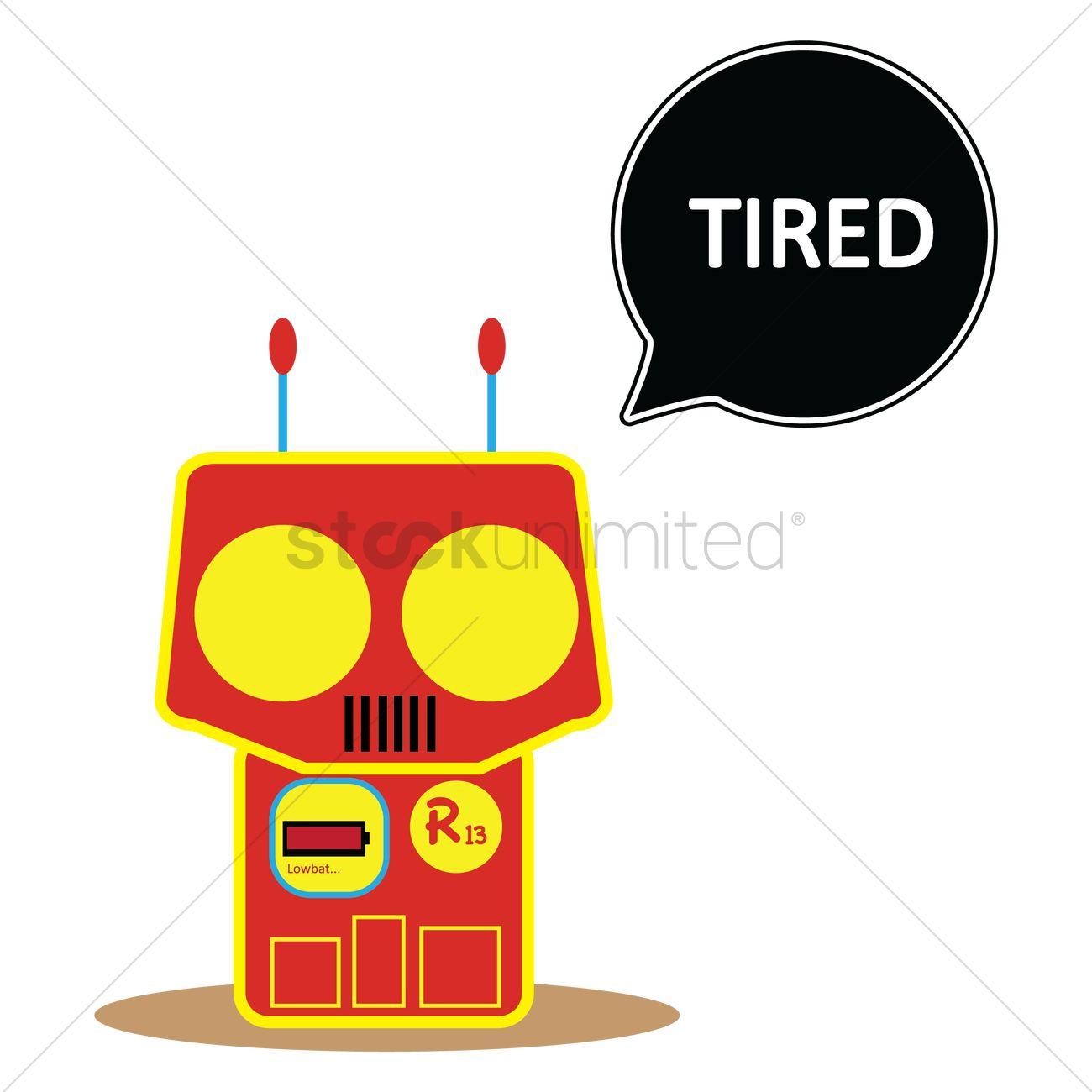 1300x1300 Robot Feeling Tired Vector Image