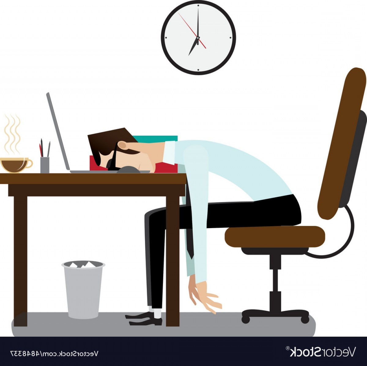1200x1197 Tired Office Man Sleeping At Desk Vector Rongholland