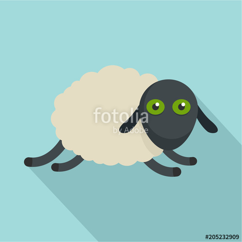 500x500 Tired Sheep Icon. Flat Illustration Of Tired Sheep Vector Icon For