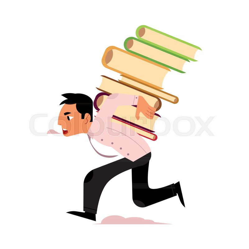 800x800 Vector Flat Exhausted Tired Man Student Or Worker Running Carrying