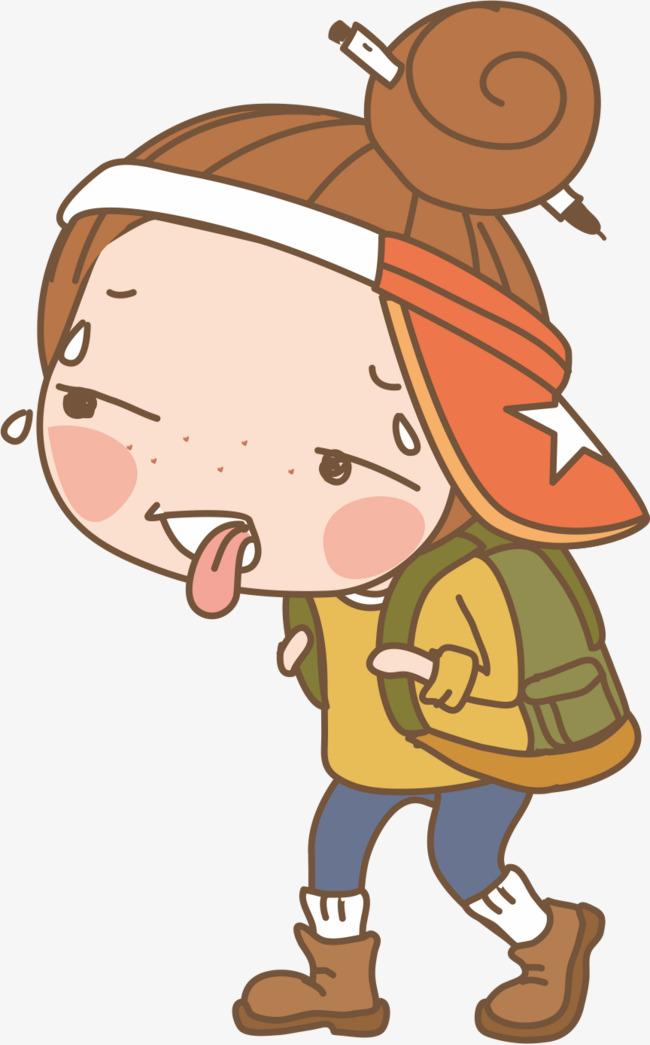 650x1045 Cartoon Backpacker Girl, Cartoon Vector, Girl Vector, Walk Png And