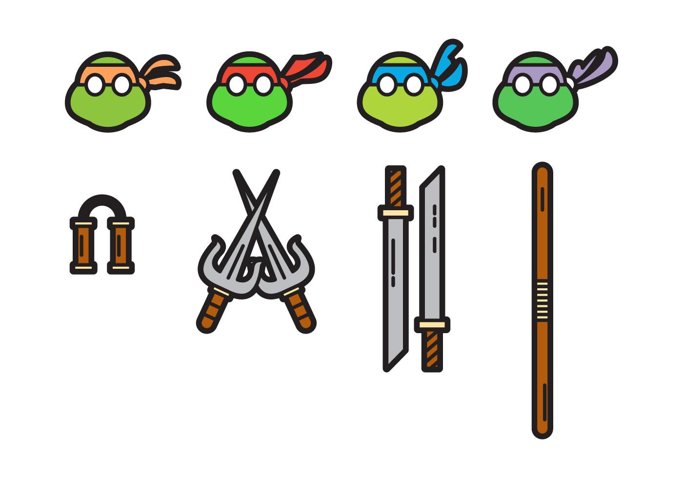 1400x980 Free Cute Ninja Turtles Vectors