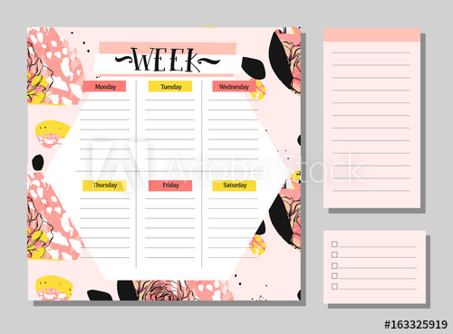 500x369 Scandinavian Weekly And Daily Planner Template. Organizer And