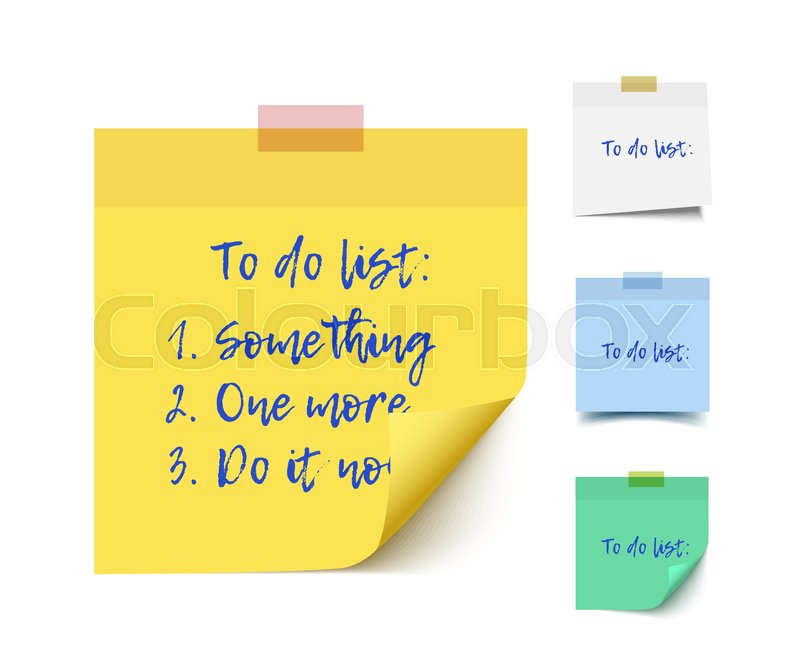 800x662 Color Realistic Vector Sticky Notes With Shadow And Text Isolated