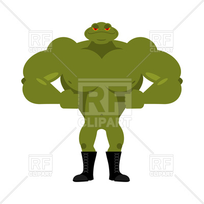 400x400 Strong Frog. Powerful Toad With Large Muscles. Vector Image