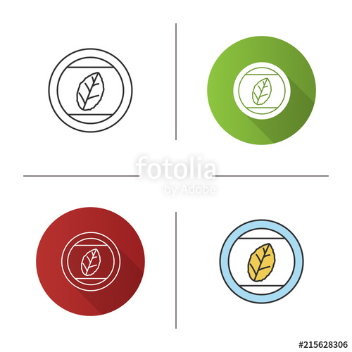 500x500 Round Sticker With Tobacco Leaf Icon Stock Image And Royalty Free