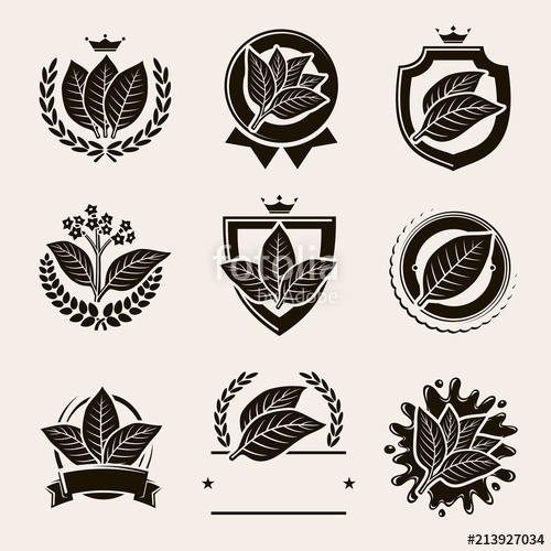 500x500 Tobacco Leaf Label And Icons Set. Vector Stock Image And Royalty