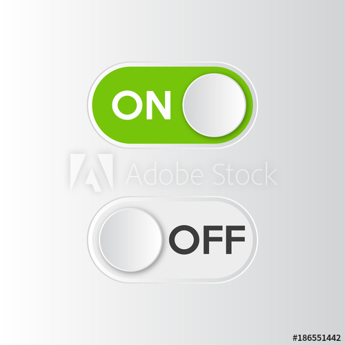 500x500 Icon On And Off Toggle Switch Button. Vector Illustration.