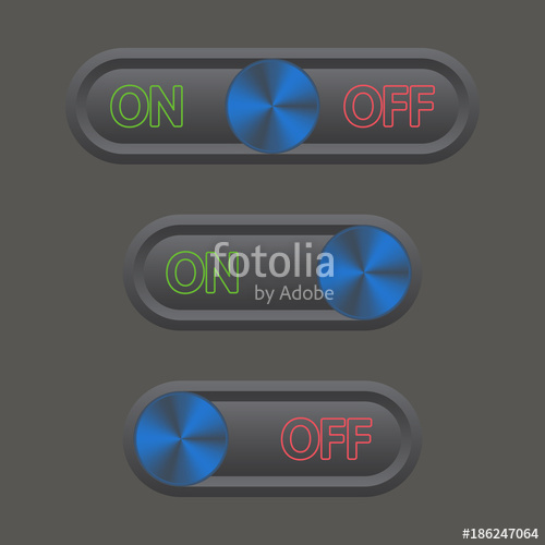 500x500 Icon Set On And Off Toggle Switch Button. Vector Illustration