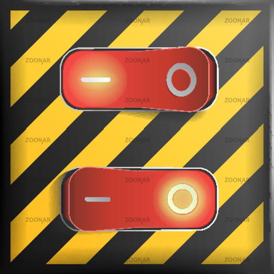 550x550 Photo Realistic Toggle Switch Vector. Danger Background. Red