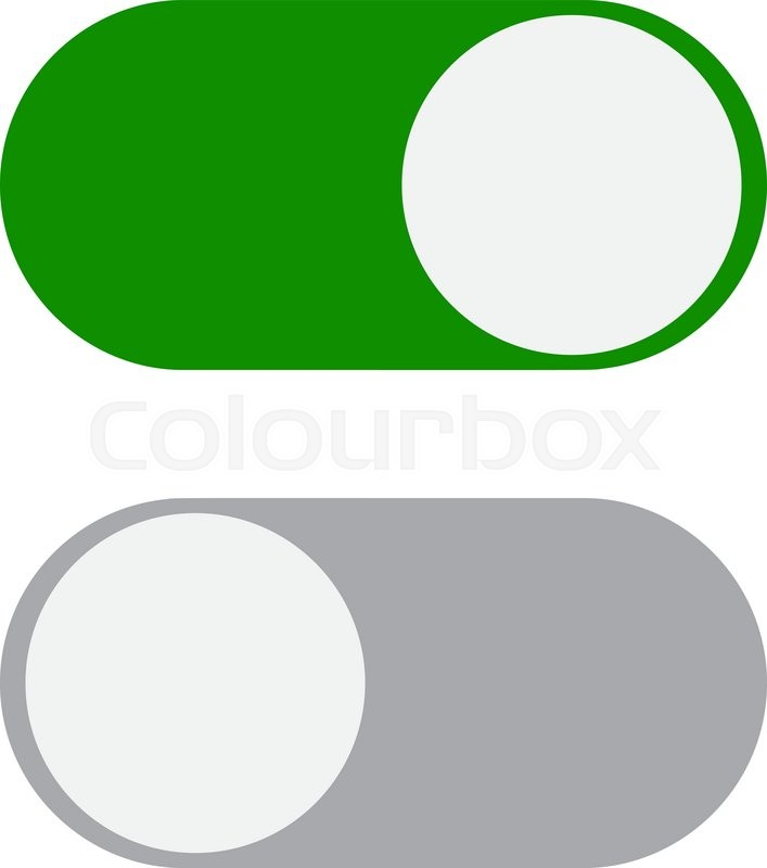 707x800 Toggle Switch Icon, Green In On Position, Grey In Off, Vector