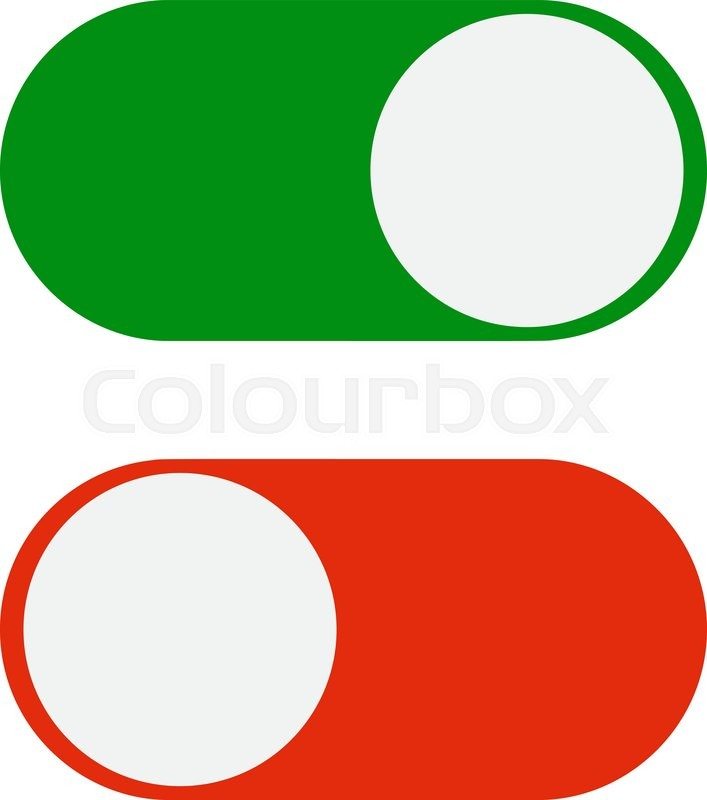 707x800 Toggle Switch Icon, Green In On Position, Red In Off, Vector