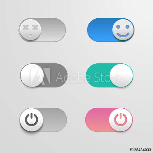 500x500 Toggle Switch Set, On And Off Sliders, Vector Elements For Your