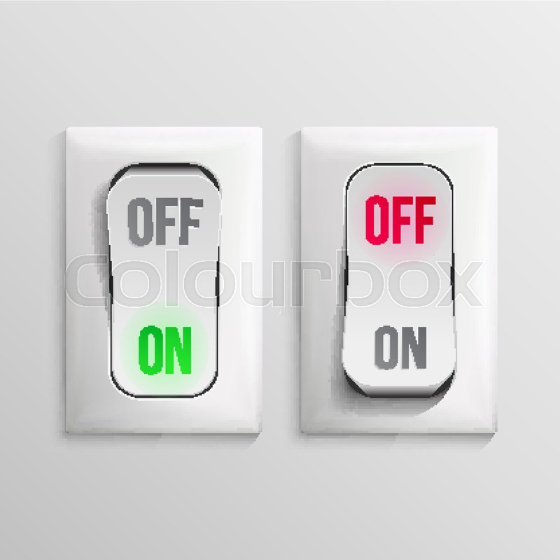 800x800 3d Toggle Switch Vector. White Switches With On, Off Position