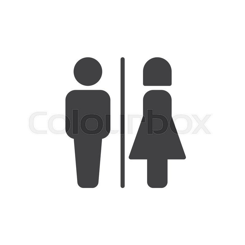800x800 Male And Female Toilet Icon Vector, Filled Flat Sign, Solid