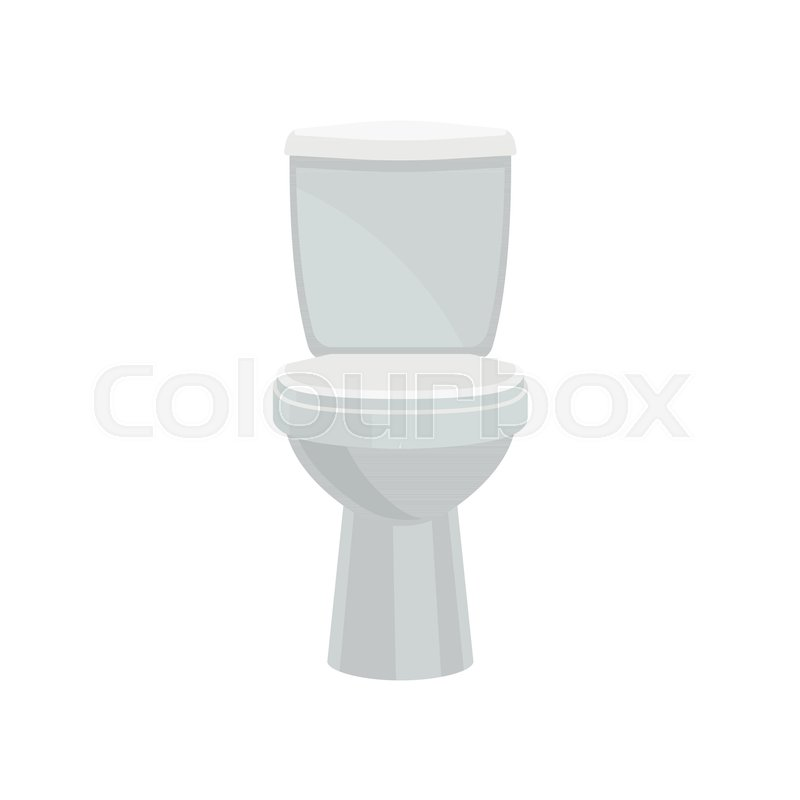 800x800 White Ceramics Closed Toilet Bowl Vector Illustration Isolated On