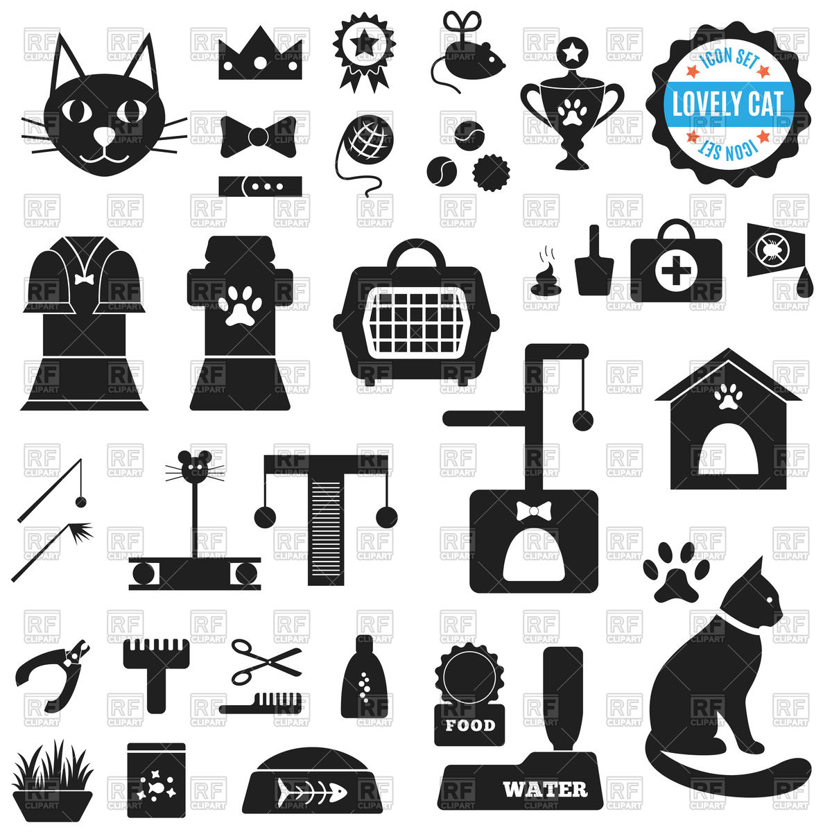 1200x1200 Set Of Icons For Cat Food, House, Cleaning, Toys, Clothing