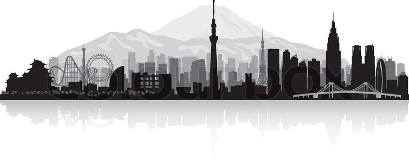 800x313 Tokyo Japan City Skyline Vector Silhouette Illustration Stock