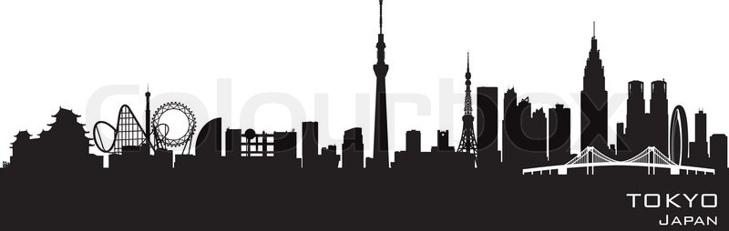 800x254 Tokyo Japan Skyline Detailed Vector Silhouette Stock Vector