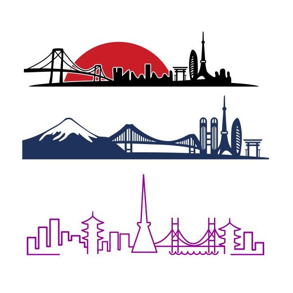 600x600 Tokyo Skyline Cuttable Design Cut File Vector Clipart Digital