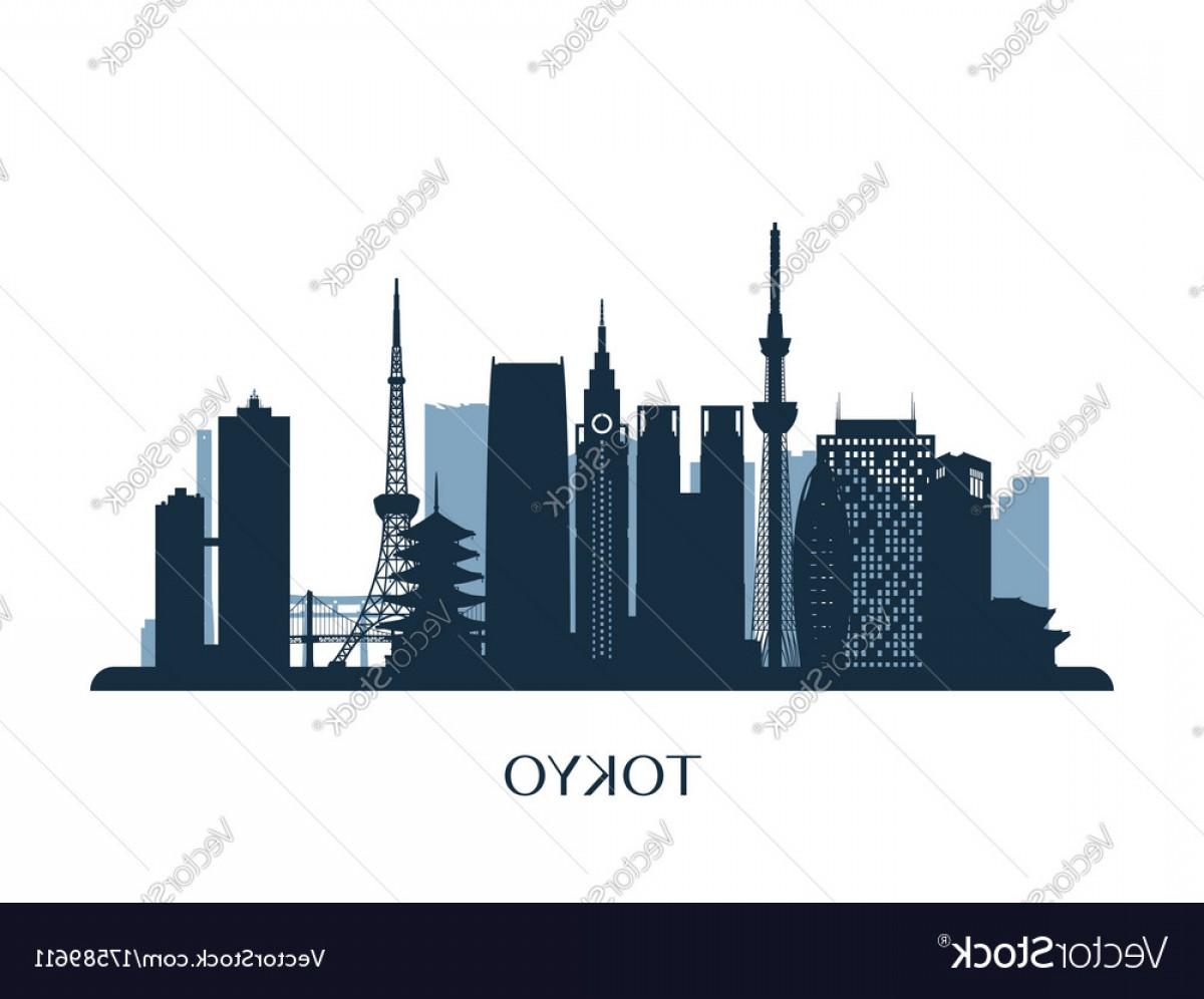 1200x996 Tokyo Skyline Monochrome Silhouette Vector Arenawp