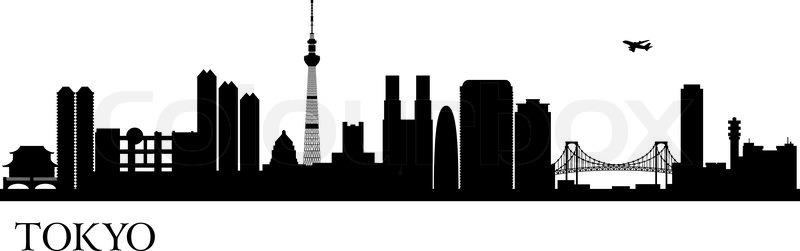 800x251 Tokyo City Silhouette. Vector Skyline Illustration Stock Vector