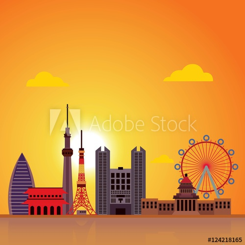 500x500 Tokyo City Skyline Vector Illustration. Urban Cityscape Of Japan