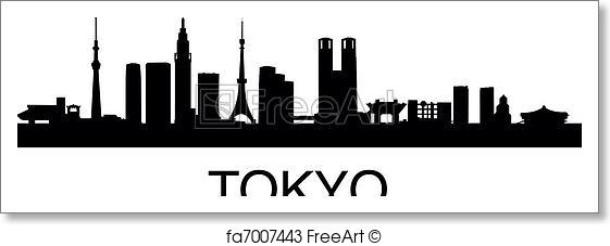 561x227 Free Art Print Of Tokyo Skyline. Detailed Vector Illustration Of