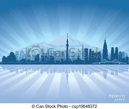 450x380 Tokyo Japan City Skyline Vector Silhouette Illustration.