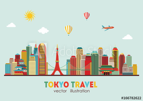 500x354 Tokyo Skyline. Vector Illustration