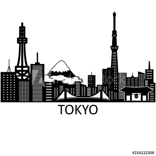500x500 Tokyo Skyline. Vector.