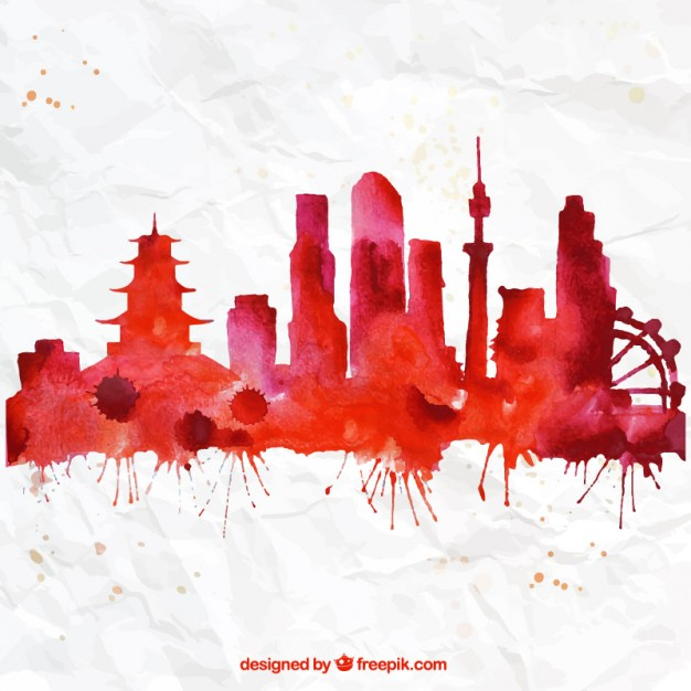 626x626 Hand Painted Tokyo Skyline Vector Free Download