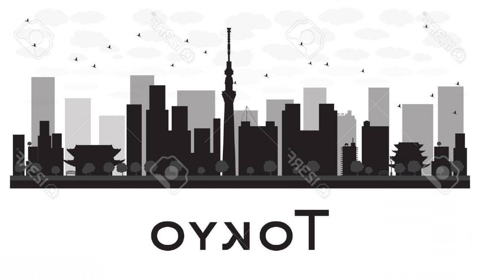 1560x910 Photostock Vector Tokyo City Skyline Black And White Silhouette