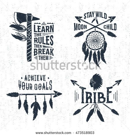 450x470 Hand Drawn Tribal Labels Set With Tomahawk, Dream Catcher, Arrows